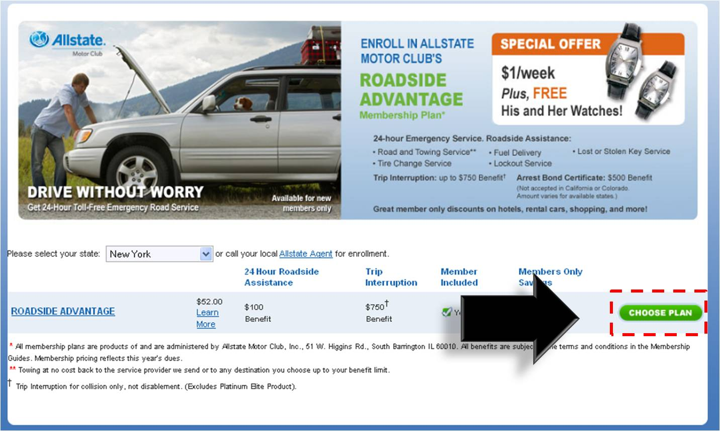 allstate motor club roadside assistance number