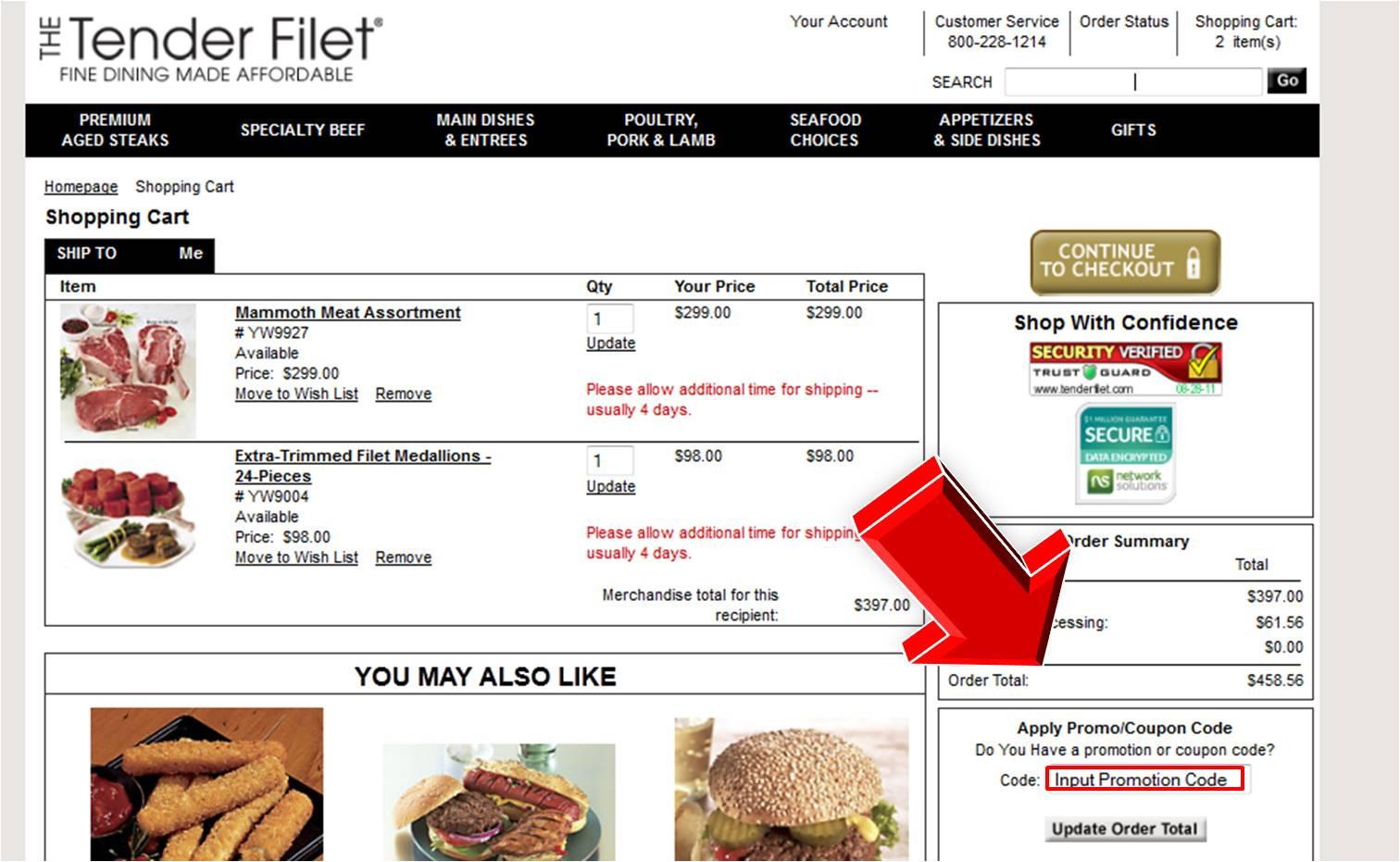 Tender filet coupon code coupon code for Mountain house coupon code