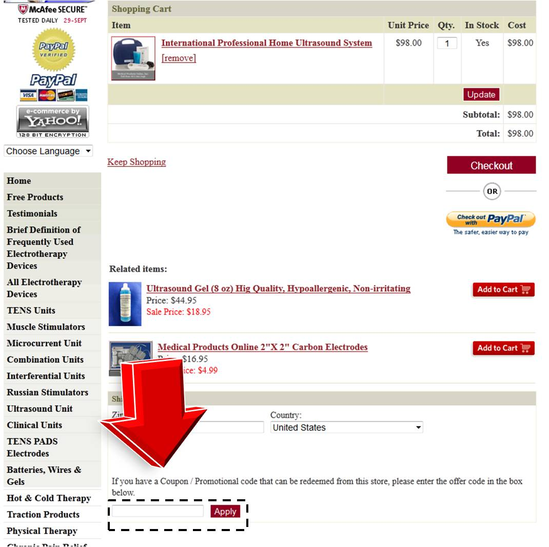 Discount coupons for convenant health products