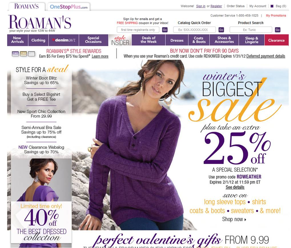 Roaman's: Get 40% Off Your Highest Price Item. Excludes items shipped directly from the manufacturer, fragrances, watches, costumes, and items from Reebok, Aerosoles, BrylaneHome & Plus Size Living, Ebags and Avenue.