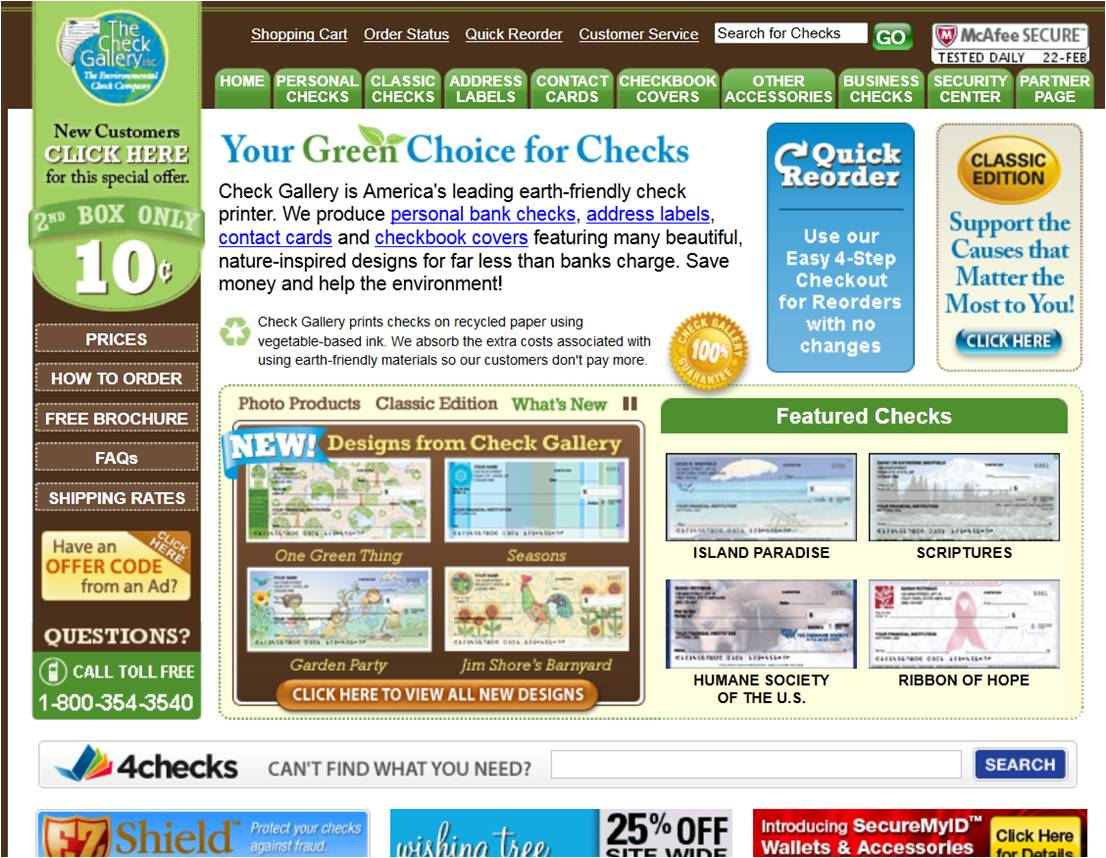 HOW TO USE Check Gallery COUPONS. unatleimag.tk offers a wide variety of checks, checkbook covers, contact cards and address labels. What makes Check Gallery different is its commitment to going green. In fact, Check Gallery is the number-one environment-friendly company in its industry.