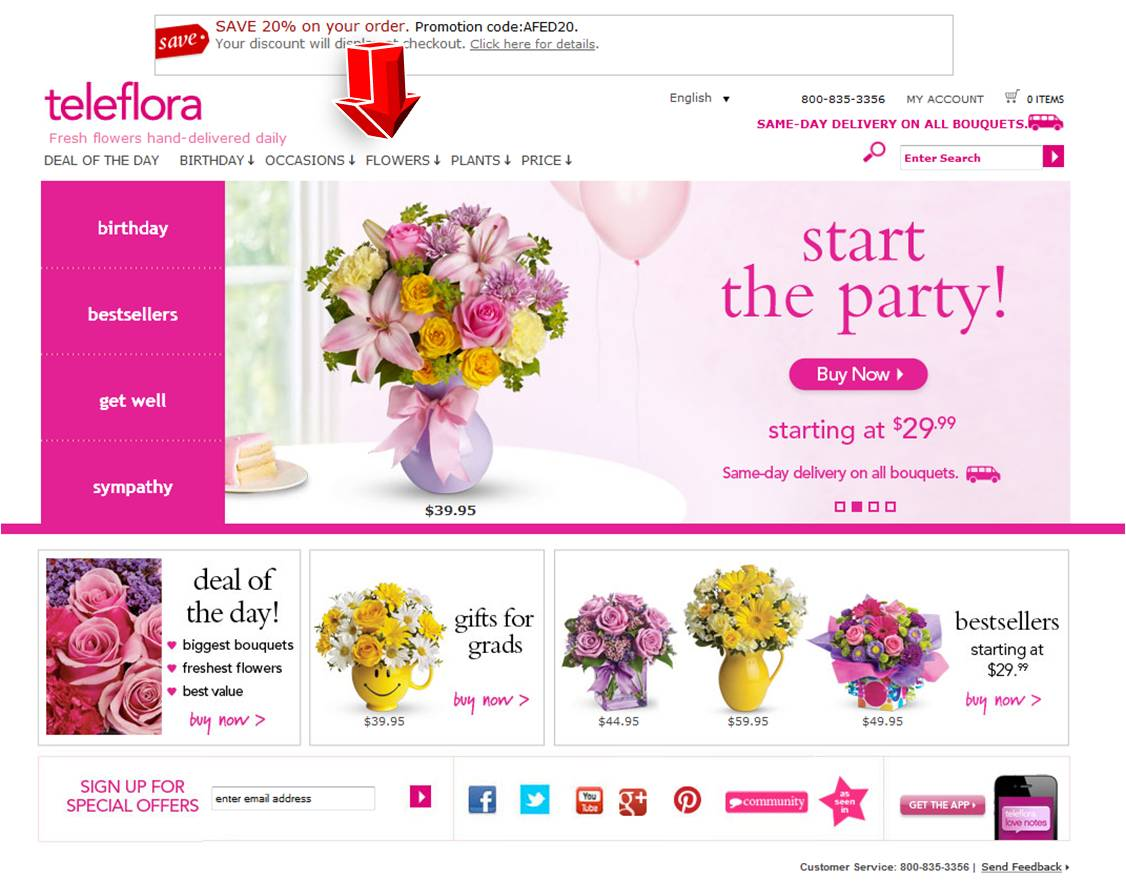 Discount coupons for flowers