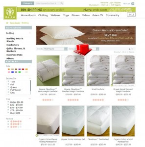 List of Gaiam Organic Pillows Promotion
