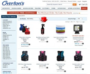 List of Overtons New Watersports & Boating Gear 2013