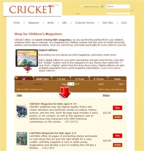 List of Children's Magazine from Cricket Magazine