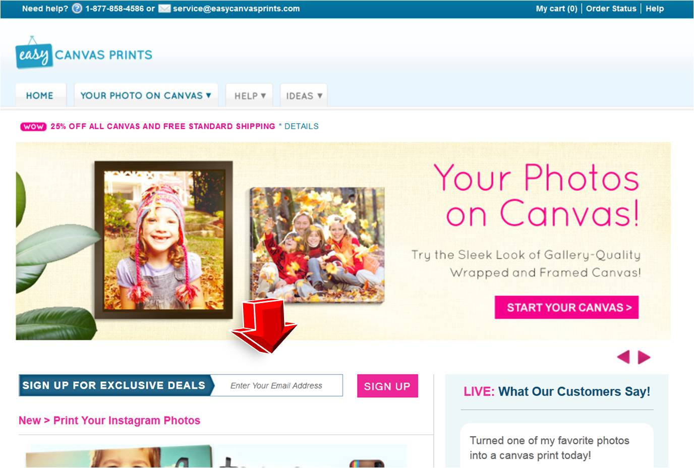Custom canvas online coupon