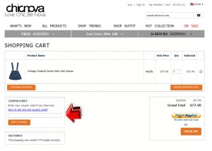 Step3 to Enter Chicnova Coupon Code