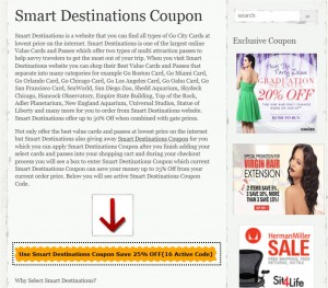 Step1 to Enter Smart Destinations Coupon Code