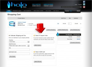 Step4 to Enter HaloCigs Coupon Code
