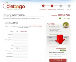 Step3 to enter Diet-to-Go Coupon Code