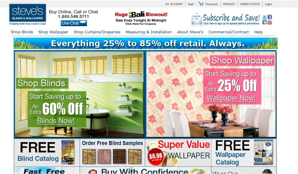 Steves Blinds and Wallpaper Coupon Code