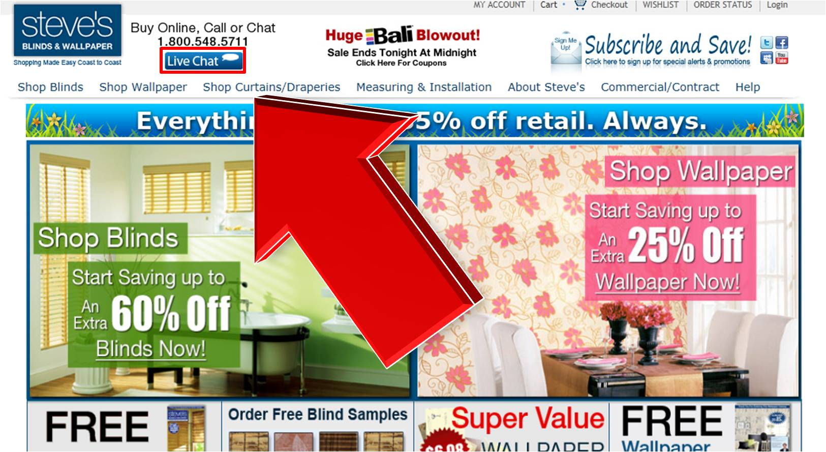 Steves Blinds and Wallpaper Coupons for November Here is the list of all Current Steves Blinds and Wallpaper Coupons and Promo Codes that are recently updated. The top categories you find here are Blinds and Shades, Wallpaper and other activities.