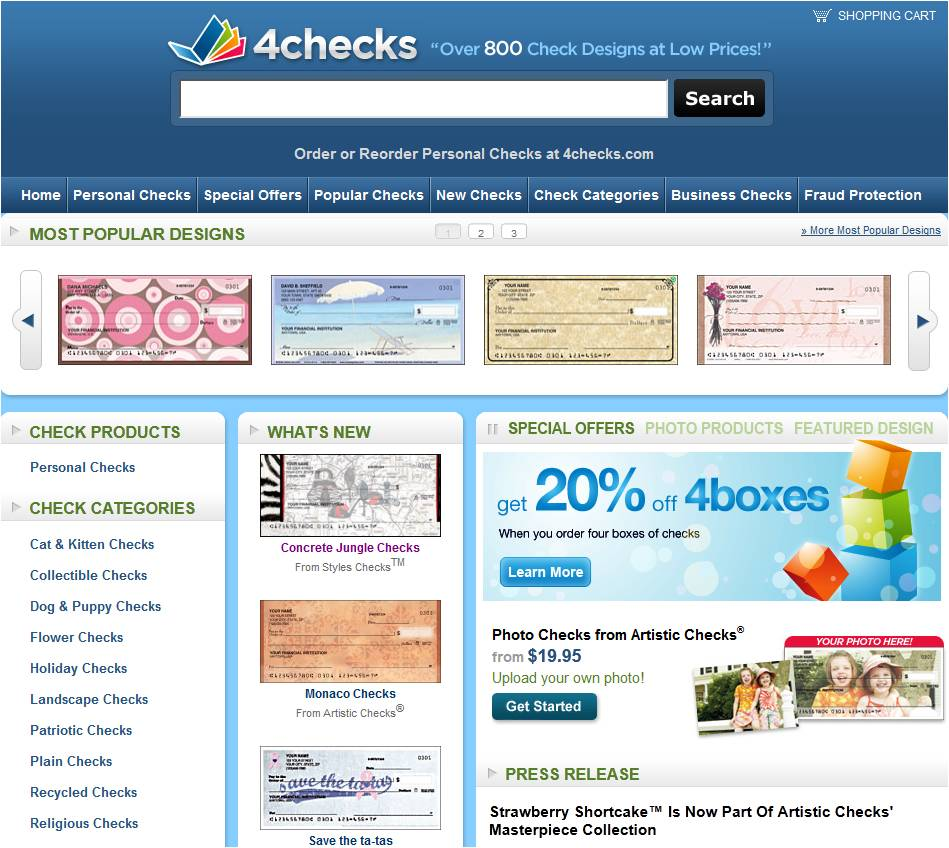 Choose From More Than Check Designs and Save Up to 40% On Personalized Checks. Checks For Less makes reordering your personalized checks easy and economical.