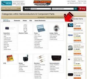 List of MCM Electronics Semis & Component Parts