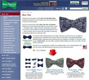 List of Bow Ties from Beau Ties