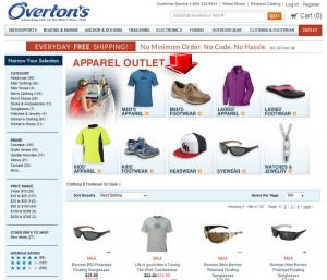 List of Clothing & Shoe Sale from Overtons