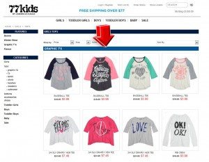 List of Girls Apparel from 77Kids