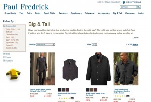 List of Paul Fredrick Plus Sizes