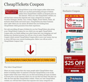 Step1 to Enter CheapTickets Coupon
