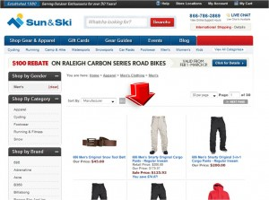 List of Men's Apparel from Sun and Ski