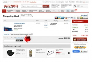 Step3 to Enter Auto Parts Warehouse Coupon Code