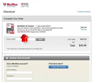 Step3 to Enter McAfee Coupon