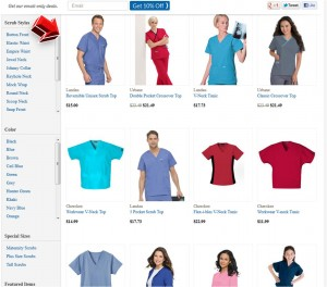 List of Scrub Tops from Scrubshopper