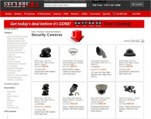 List of Security Cameras from Securitall