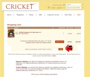 Step3 to Enter Cricket Magazine Coupon
