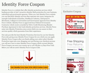 Step1 to Enter Identity Force Coupon