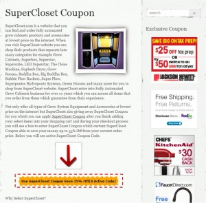Step1 to Enter SuperCloset Coupon Code