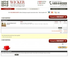 Step3 to Enter Wicker Paradise Coupon Code
