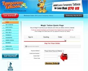 Step7 to Enter Temporary Tattoos Coupon