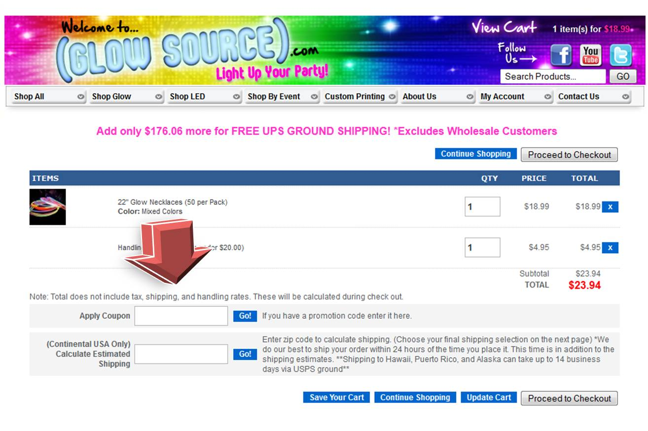 Glow Source Coupon website view Glow Source is the number one website to light up your party. Shop from all kinds of glow light, LED, wearable glow items, glow plates, glow cups, glow eyewear, fiber optic centerpieces, atomic glow cups, light up ice cubes, glow and LED beach balls, super bright shorties, birthday party glow items and more.