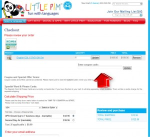 Step4 to Enter Little Pim Coupon Code