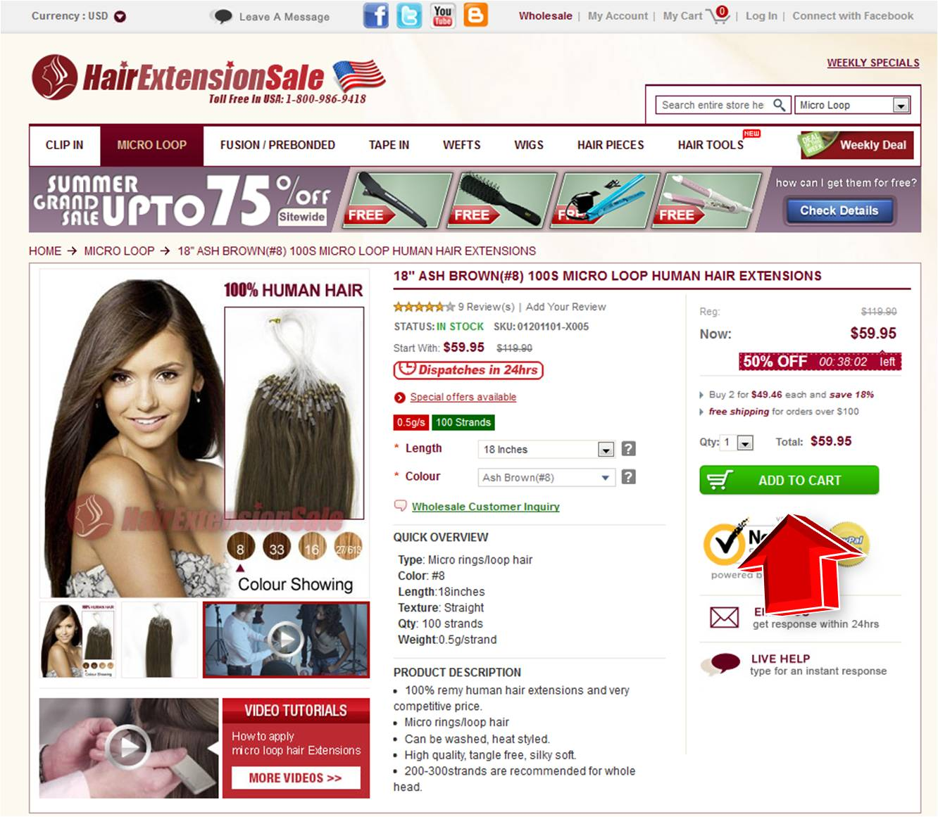 Step2 to Enter HairExtensionSale Coupon Code