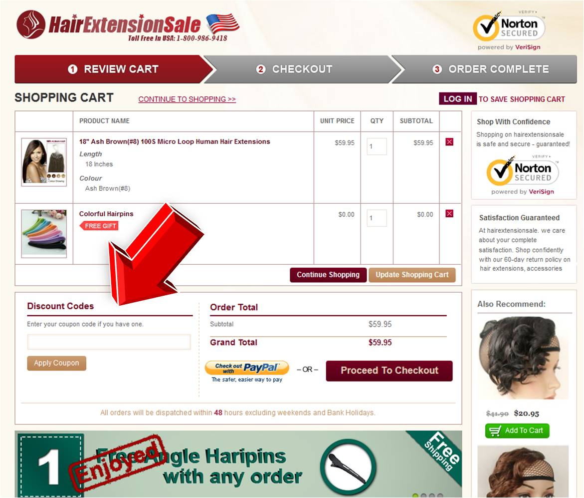 Step4 to Enter HairExtensionSale Coupon Code