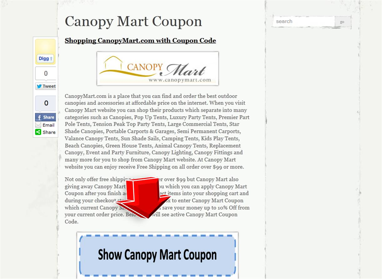 Step1 to Save your money at Canopy Mart website