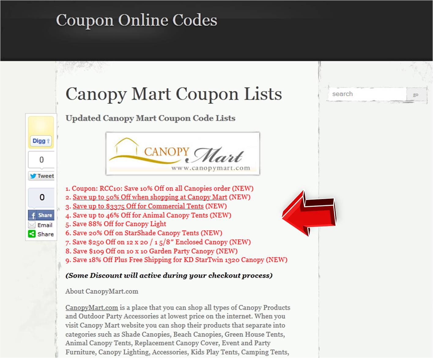 Discount coupon website
