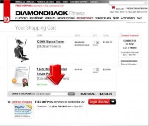 Step4 to enter Diamondback Fitness Coupon Code