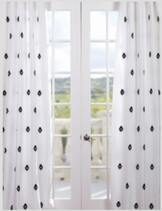 Mirror Eggshell Embroidered Faux Silk Curtain