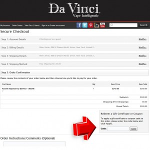 Step6 to Enter Davincivaporizer Coupon Code