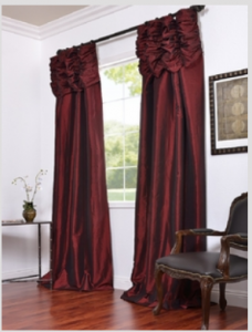Syrah Embroidered Ruched Faux Silk Taffeta Curtain