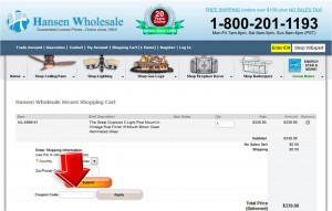 Step3 to Enter Hansen Wholesale Coupon Code
