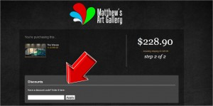 Step5 to Enter Matthews Art Gallery Coupon Code