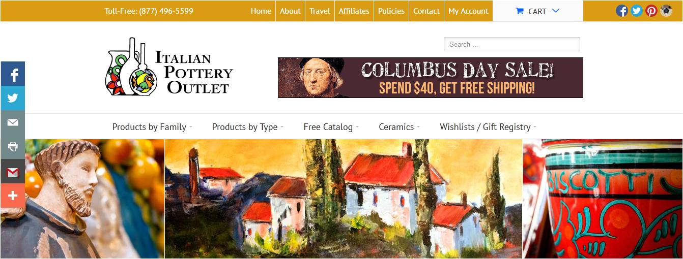 Italian pottery outlet coupon code