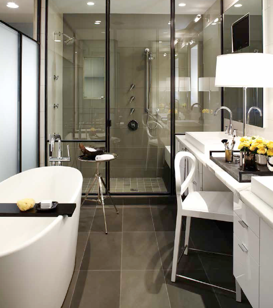 Black & White plus Glass and Steel for Master Bathroom Ideas