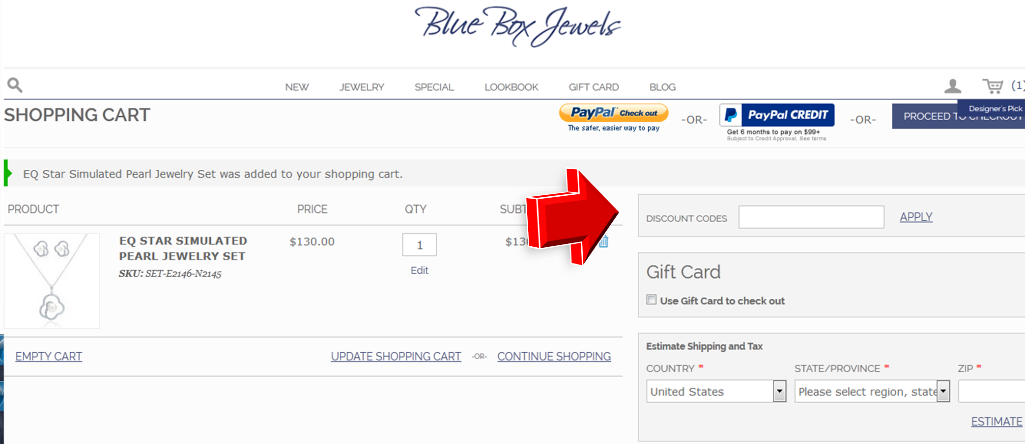 Step3 to enter Blue Box Jewels Coupon Code