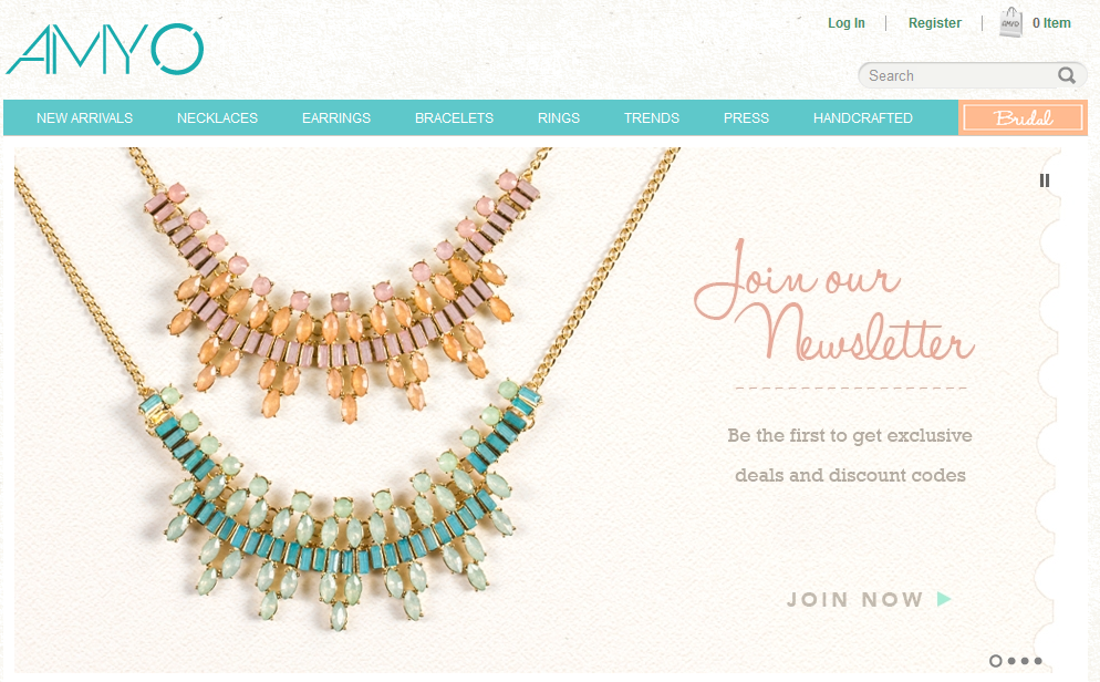 Step1 to Enter Amy O Jewelry Coupon