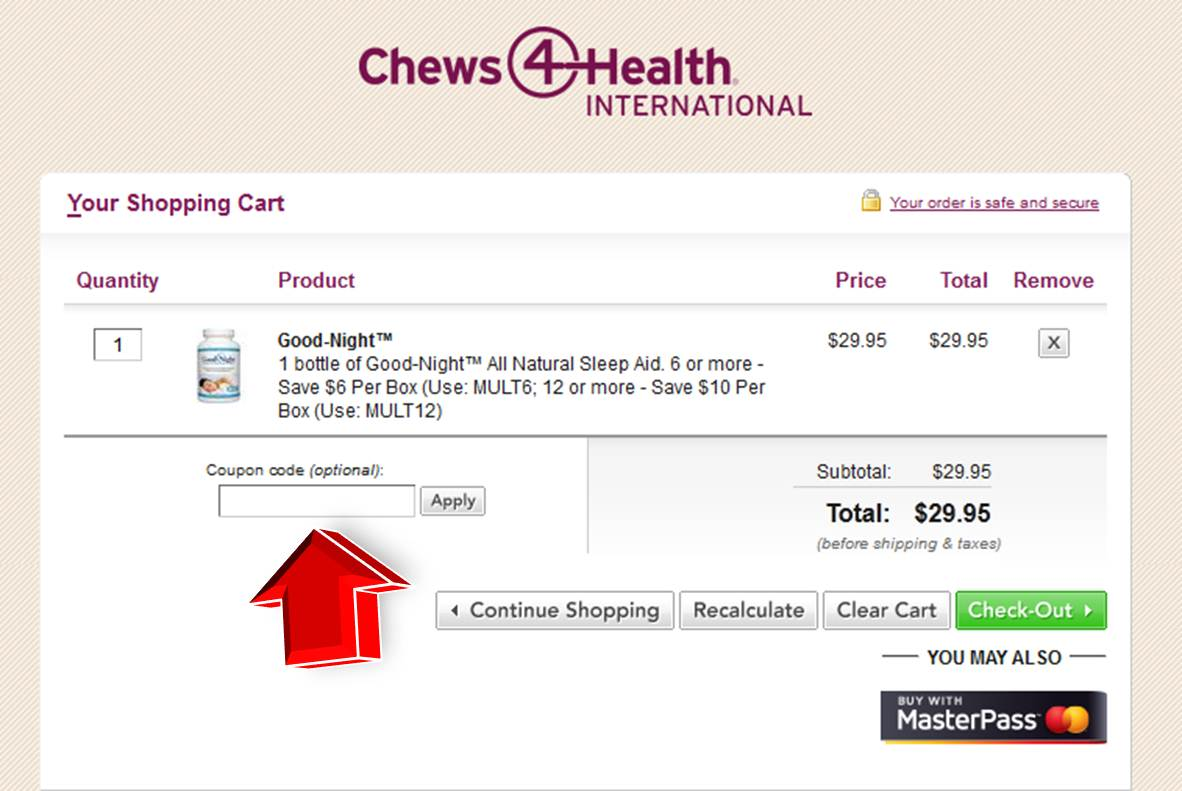 Step3 to enter Chews4health Coupon Code